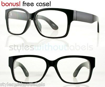 80s Super Retro Thick Square Black Frame Style Glasses Clear Lens Nerd Hipster