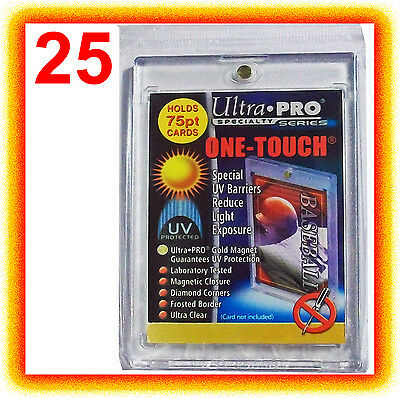 25 Ultra Pro ONE TOUCH MAGNETIC 75pt UV Card Holder Display Case Two Piece 81910