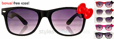 CUTE! Hello Kitty Frame Bowtie Bow Hipster Sunglasses Trendy Retro Smoke Lens