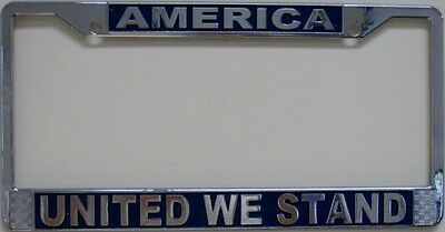 America United We Stand Metal License Plate Frame Chrome New L647