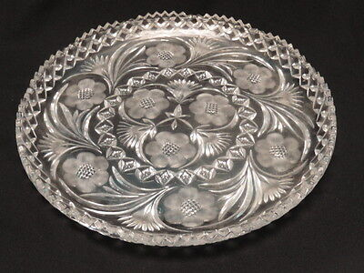 Large Antique American Brilliant Cut Glass Platter ~ 14""