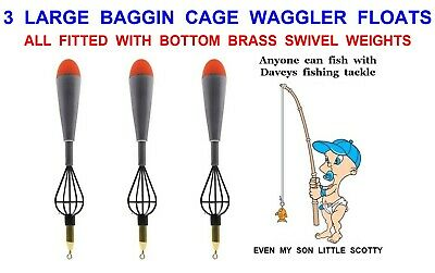 2 LARGE CAGE FEEDER WAGGLER FLOATS COARSE CARP FISHING BAGGING METHOD FEEDERS