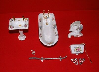Bathroom Suite ~ CERAMIC ~ FLORAL PATTERN ~ Doll House Miniature ~ 1/12th scale