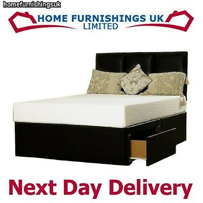 FAUX LEATHER OR SUEDE MEMORY FOAM DIVAN BED 3FT Single BLACK BROWN CREAM WHITE