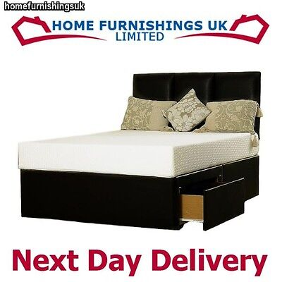 FAUX LEATHER OR SUEDE MEMORY FOAM DIVAN BED 5FT Kingsize BLACK BROWN CREAM WHITE