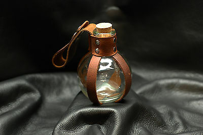 Glass Potion Bottle w/ Brown Leather Renaissance Pirate LARP