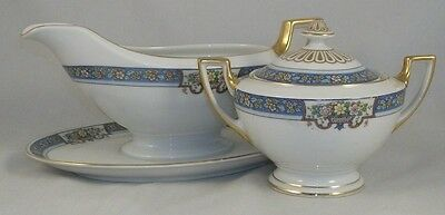 Thomas TRILBY Gravy Boat w/Attached Undeplate + Sugar Bowl w/Lid GREAT CONDITION