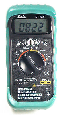 DT2232 4in1 Thermometer Light Lux Humidity Sound Meter PC RS-232 Serial Port NEW
