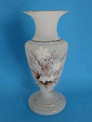 ANTIQUE Victorian Bristol Glass Signed I Glass Vase Art Nouveau Hand painted