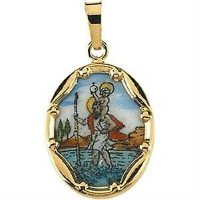 Hand Painted St Saint Christopher Porcelain Pendant Charm 14K Yellow Gold Gift