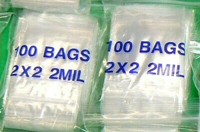 "PLASTIC ZIP LOCK BAGS 2MIL CLEAR 2"" x 2""  200 BAGS RE-USE-ABLE  POLY BAGS 2MIL"