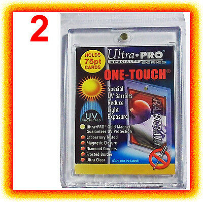 2 Ultra Pro ONE TOUCH MAGNETIC 75pt UV Card Holder Display Case Two Piece 81910
