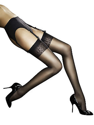 Fiore Obsession Adora Stockings 8 Denier Super Sheer with Patterned Tops