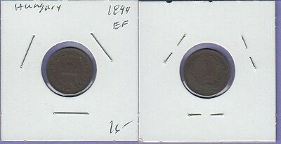 """Hungary 1 Filler 1894 Extra Fine Condition Cat#480 """"Free U.S. Shipping"""""""