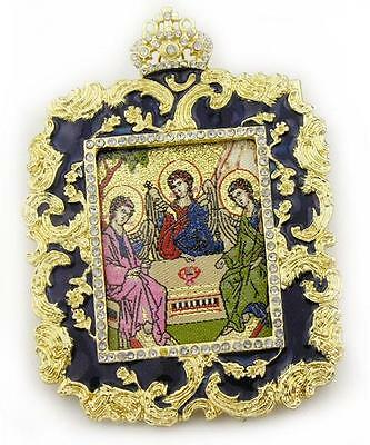Holy Trinity Icon Pendant Medal tapestry icon in blue frame 3 Angels Gift boxed