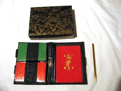 Heinz Contract Bridge Set Playing Cards Faux Leather Case W/ Pen Score Pad New