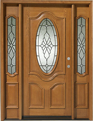 Solid Wood Entry 1 door w/ 2 SL prehung & finished TAS7350-P
