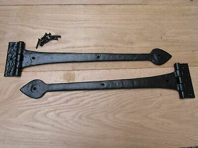 "18"" Black Antique Heavy Cast Iron Door Gate Tee/T Hinges Spear Arrow Leaf Head"