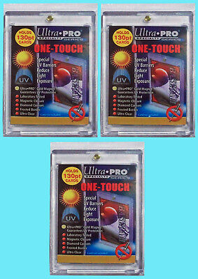 3 Ultra Pro ONE TOUCH MAGNETIC 130pt UV Card Holder Display Case Two Piece 81721