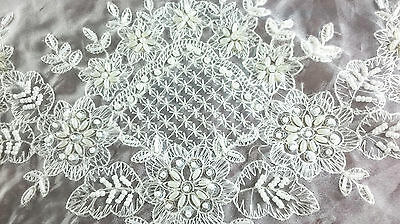 "Embroidery Handmade Beaded Pearl Embroidered 36x36"" White Tablecloth Wedding"