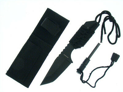 "7"" Compact Tactical Hunting Survival Knife w/ Fire Starter & Sheath Blk 3"" Blade"