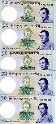 LOT, Bhutan,  Kingdom, 5 x 10 Ngultum, 2006, P-29, UNC