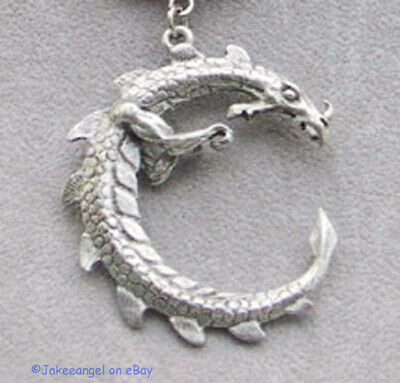 Spiked Dragon Charm Necklace Lizard Gecko Unisex Handmade Cool Nickel Waxed Cord