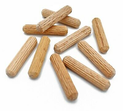 100, 5mm x 25mm FLUTED HARDWOOD WOODEN WOOD DOWEL PINS FOR WOODWORKING ETC. *