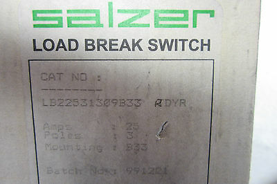 New Salzer Lb22531309B33 Load Break Switch 25 Amp 3 Pole