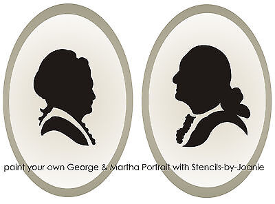 Silhouette STENCIL George Martha Washington Colonial Country Vintage Art Shapes