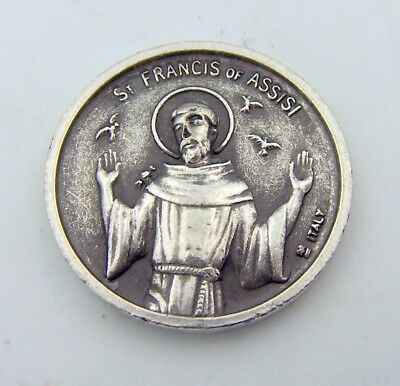 Saint St Francis Of Assisi Silver Antique Finish Double Sided Prayer Coin