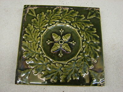 "Antique 6"" X 6"" Green  Glazed Mintons China Works Stoke Or Trent Acorns Tile"
