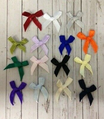50 Assorted Colours Satin Ribbon Bows Card Making Scrapbook Craft Embellishments