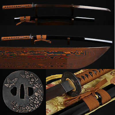 "41"" JAPANESE SAMURAI KATANA SWORD Black&Red Folded Steel Full Tang Blade Sharp"