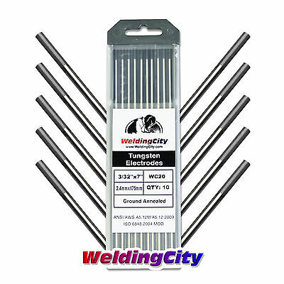 "10-pk TIG Welding Tungsten Electrode 2% Ceriated (Gray) 3/32""x7"" US Seller Fast"