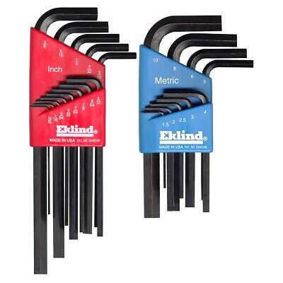22 Piece Combination Short and Long Hex-L Hex Key Sets EKL10022 Brand New!