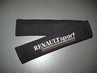 Seat Belt Harness Pads in Black with Renault Sport Logo/Clio Sport, Megane Sport