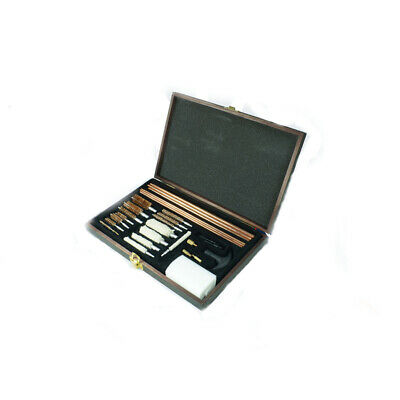 Gun Cleaning Kit Brush Set Pistols Pistol Rifle Full Clean Tool Case Safe Wood