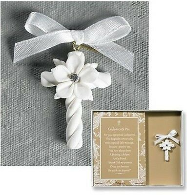 Baptism Chistening Gift Set FOR Godparents Cross Pin Boxed Prayer W Satin Ribbon