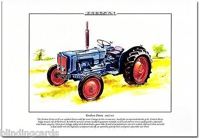 FORDSON DEXTA 957E TRACTOR - Fine Art Print - A4 size - 1957-61 - Power take off
