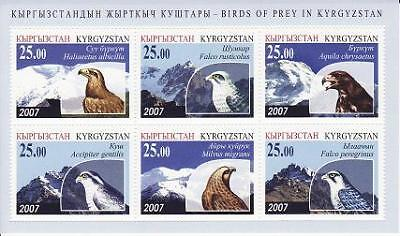 Kyrgyzstan - 2007 - Birds of Prey, m/s of 6v