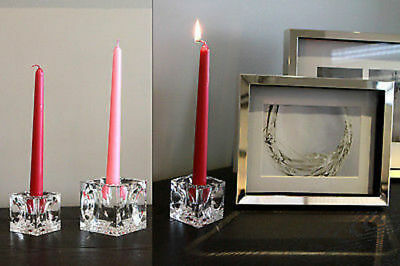 6 x Crystal cube candle holder 6cm bulk wholesale lot reduced to clear