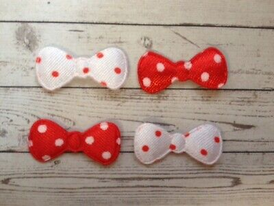 25 Mini Red White Satin Fabric Polka Dot Bow Card Making Craft Embellishments