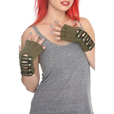 Tripp NYC Olive Army Military Strap Fingerless Gloves From Hot Topic Gothic Punk