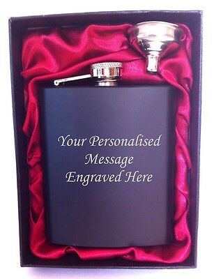 Engraved Steel HIP FLASK black 7oz in gift box with red liner + free funnel