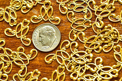 19mm Solid Brass Stamping Filigree Wraps Connectors charm pendant be25 (12pcs)