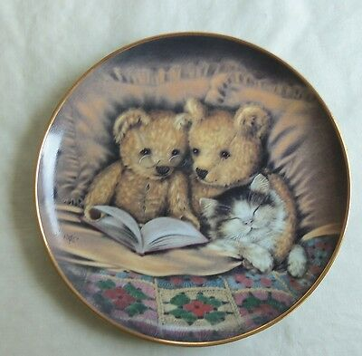 Bedtime Story Franklin Mint Sue Willis LE Teddy Bears Cat Collector Plate