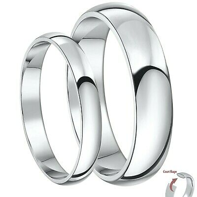 Brand New Palladium His & Her's 3&5mm / 4&6mm Court Shaped Wedding Rings