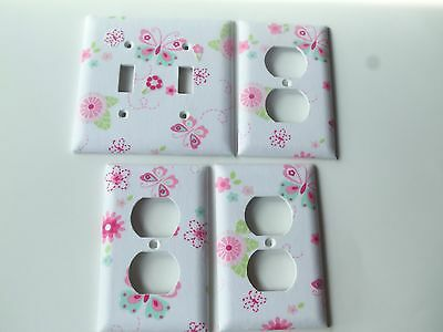 DOUBLE LIGHT SWITCH PLATE & 3 OUTLET COVERS MADE W/ KIDSLINE BELLA