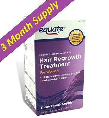 Women's Hair Regrowth Topical Solution 2% Minoxidil, Equate 3 Months Exp04/ 2019